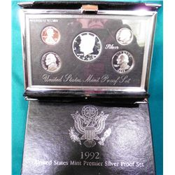 1992 U.S. Mint Premier Silver Proof Set. Original as issued.