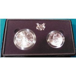 1989 D U.S. Bicentennial of Congress BU Silver Dollar and clad Half-Dollar. In original U.S. Mint bo