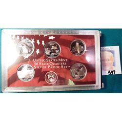 "2004 S U.S. Mint State Quarters Silver Proof Set, which includes the ""Iowa"". In original box of issu"