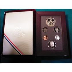 1988 S Olympics Silver Prestige Proof Set with Commemorative Silver Dollar. No box. Some toning.
