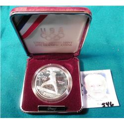 "1992 S U.S. Silver Proof Commemorative ""Baseball"" Dollar in original box of issue."