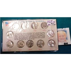 1942-45 S Complete Set of U.S. Silver War Nickels in a holder. Brilliant Unc.
