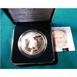 1992 P U.S. Mint Columbus Quincentenary Proof Silver Dollar in original box of issue.
