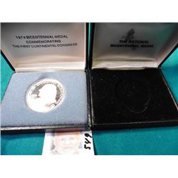 1974 Sterling Silver Bicentennial Medal Commemorating The First Continental Congress. In original bo