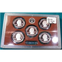 2012 S U.S. Proof Five-Piece Quarter Proof Set in hard plastic government issued case. No box.