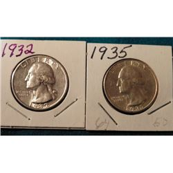 1932 P & 35 P Washington Quarters. AU-BU. Red Book value $25-50.00.