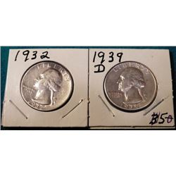 1932 P & 39 D Washington Quarters. AU-BU. Red Book value $35-65.00.
