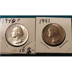 1940 P & 41 P Washington Quarters. EF-AU.
