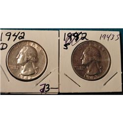 1942 D & 43 S Washington Quarters. AU-BU. Red Book value $20-40.00.