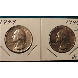 1944 P & D Washington Quarters. AU-BU. Red Book value $15-30.00.