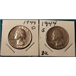 1944 D & S Washington Quarters. AU-BU. Red Book value $20-40.00.