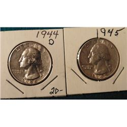 1944 D & 45 P Washington Quarters. AU-BU.