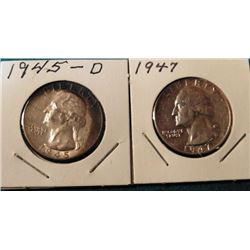 1945 D & 47 P Washington Quarters. AU-BU.