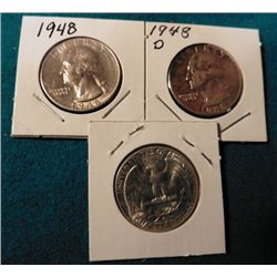 1948 P, D, & S Washington Quarters. AU-BU. (3 pcs.).