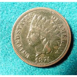 1874 Indian Head Cent. VF. Red Book value $65.00.
