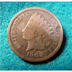 1908 S Indian Head Cent. Key Date. Good.