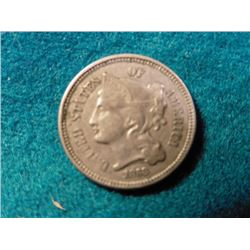 1868 U.S. Three Cent Nickel. VF.