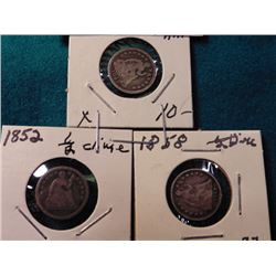 1847, 1852, & 1858 U.S. Seated Liberty Half Dimes.