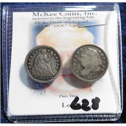 1833 Capped Bust Half Dime & 1853 With Arrows Seated Liberty Half Dime.