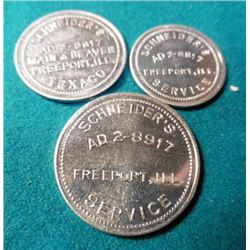 "3-Pc. Set ""Schneider's/AD2-8917/Freeport, Ill./Service"", Good For Tokens, couple different varieties"
