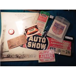 1953 & 57 Aurora Passenger Vehicle; 1955-56 Plano Vehicle Tax Tag; Firestone Anti-Freeze Guarantee T
