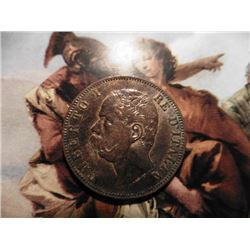 1893B/I Italy 10 Centimes. KM27.1. Brown Unc. KM value $35.00.