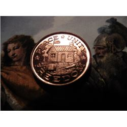 """1809-1865 Abraham Lincoln Civil War Token Style Medal. """"Peace Unity Freedom"""". Gem Red BU."""