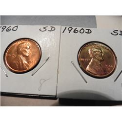 1960 P & D Small Date Lincoln Cents. Gem Red BU.