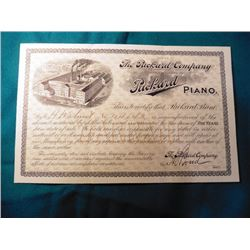 """Original Warranty from the """"Office of The Packard Company Manufacturers of Packard Piano..."""" 8.5"""" x"""