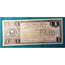 """$1 Series 1933 Depression Scrip """"United States of America State of North Carolina County of Guilford"""