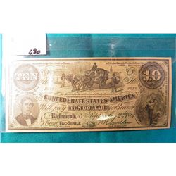 """""""Vote For John J. Melvin for County Assessor"""" Confederate States of America $10 Advertising Note. Ma"""