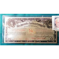 """1907 Des Moines, Iowa Scrip. """"The Juvenile Savings Company Incorporated The Value of this coupon is"""