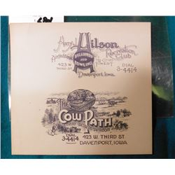 """Scrip. """"Harry J. Hilson Billiards and Bowling...Davenport, Iowa"""" """"The Cow Path A Truly Western Tap R"""