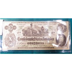"""""""Swanson's...Galesburg, Ill.,..."""" Confederate States of America $10 Advertising note. States """"This i"""