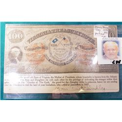 """Post card depicting $100 Virginia Treasury Note. States """"We are in the grand old State of Virginia,"""