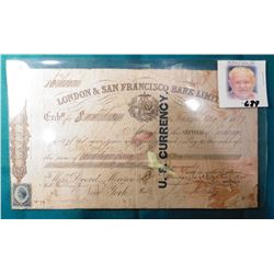 """Aug. 24, 1877 """"London & San Francisco Bank Limited"""" Note for $55.58. Blue Ink stamping """"U.S. Currenc"""