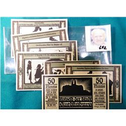 (7) Different 50 Pfennig Notgeld Notes from 1921 Germany. All crisp Unc and depicting Shadow figures