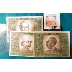 """Three different pieces of German African Explorer Notgeld currency. Depicts """"Dr. Carl Peters"""", """"Herm"""