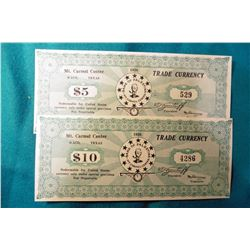 """$5 & $10 Depression Scrip from the Branch Davidians Center. 1938 """"Trade Currency Mt. Carmel Center,"""