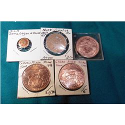 (2) 1970 Great River Road Mississippi Parkway Foundation Medals, 39mm, BU; 1854-1954 North English,