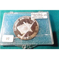 1874-1974 Columbus Junction, Iowa Centennial Silver Proof Medalion. Serial No. 97. In a foam lined c