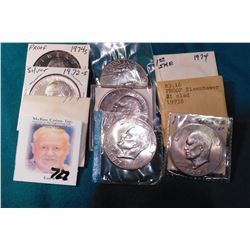 1971 P & D, 72 P, D BU, 72S Silver BU, 73P, D BU, 73S Clad Proof, 74P, D BU, & 74 S Clad Proof  Eise