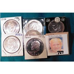 1972D BU, 73 S Silver BU, 73 S Clad Proof, 74 D BU, 76 P & D T.2 BU, & 76 S T.1 Proof in Capital hol