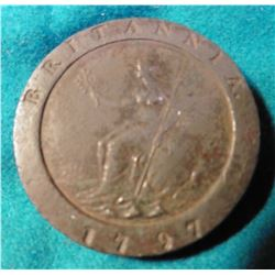"1797 Great Britain Two Pence ""Tuppins"". EF. Some oxidation. KM619. KM Value $560.00."