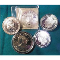 (5) Different Replica Coins/Medals. Includes 1893S Dollar Proof, 1913 Liberty Nickel over-sized BU,