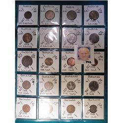 (9) Austria,  (7) Bahamas, & (4) Barbados Coins in a plastic page. All identified with KM number, Mi