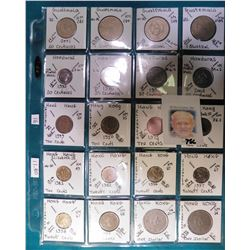 (20) Various foreign coins from Guatemala, Honduras, & Hong Kong in a plastic page. All identified w