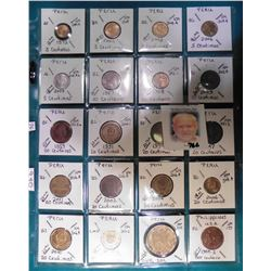 (20) Various foreign coins from Peru & Philippines in a plastic page. All identified with KM number,