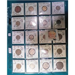 (20) Various foreign coins from Philippines in a plastic page. All identified with KM number, Mintag