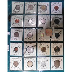 (20) Various foreign coins from Thailand, Trinidad & Tobago, Turkey, & Uruguay in a plastic page. Al